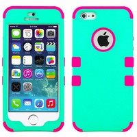 myLife (TM) Hot Pink and Teal - Colorful Robot Series (Neo Hypergrip Flex Gel) 3 Piece Case for iPhone 5/5S (5G) 5th Generation iTouch Smartphone by Apple (External 2 Piece Fitted On Hard Rubberized Plates + Internal Soft Silicone Easy Grip Bumper Gel + Li