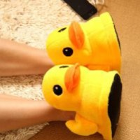 Cute Rubber Duck Winter Warm Slippers Plush Slippers