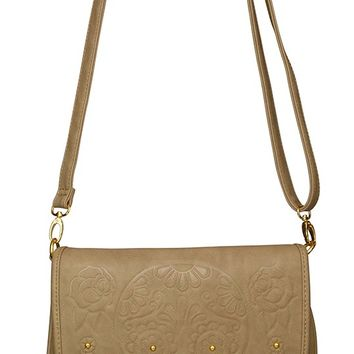 Loungefly Taupe Embossed Sugar Skull Crossbody Bag | Blame Betty