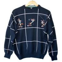 Wile E Coyote Looney Tunes Men's Tacky Ugly Golf Sweater