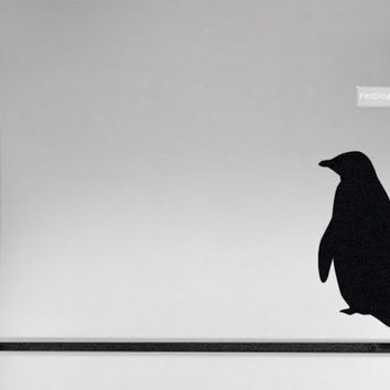 Penguin Wall Decal - Velvet Kitchen Decal - Black Fabric Animal Sticker - Fridge Art - Arctic Animal Laptop Sticker