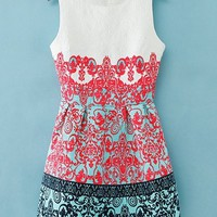 Vintage Jacquard Sleeveless Dress