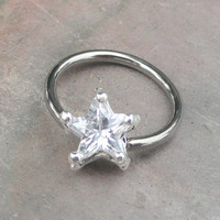 Crystal Star Starfish Cartilage Hoop Earring Tragus Helix Piercing CBR