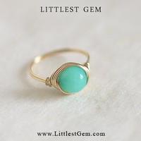 Ocean Green Gemstone Ring - wire wrapped jewelry handmade - unique rings - custom