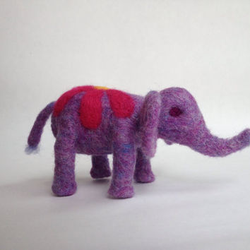 Flower elephant, spring, needlefelted