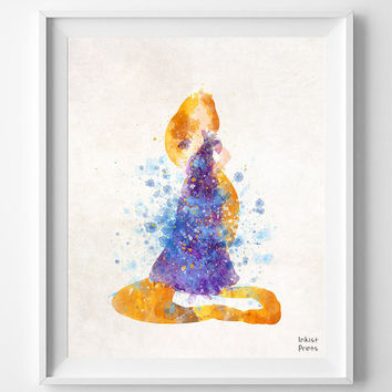 Rapunzel Art, Disney, Watercolor Painting Print , Princess Poster, Art, Illustration, Watercolour, Wall, Nursery Room, Home Decor [NO 345]