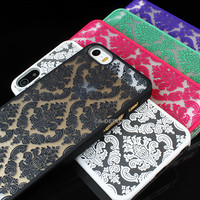 "For iPhone 6 Plus 5.5"" 4.7"" 5S Rubberized Damask Vintage Pattern Matte Hard Case"
