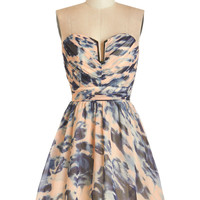 ModCloth Short Strapless Fit & Flare Swirls of Sass Dress