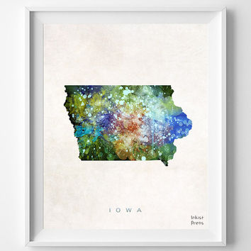 Iowa Map, Painting, Watercolor, Home Town, Poster, Art, USA, States, America, Wall Decor, silhouette, state love [NO 330]