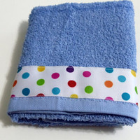 Blue Bathroom  Towel Kitchen Hand Towel  White with  Multi Color Dot Trim