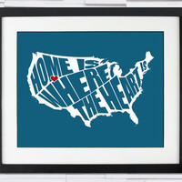 USA Home Is Where The Heart Is Typography Poster 8x10 by inkofme