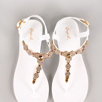 Qupid Bari-01 Hexagon Jelly Slingback Flat Sandal
