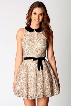 Leanne Lace Contrast Collar Skater Dress at boohoo.com