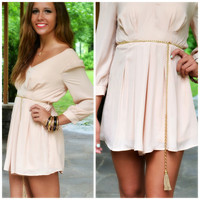 Up All Night Beige Belted Romper