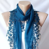 Teal Green Cotton Scarf with Tassel Lace by Periay on Etsy
