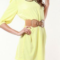 Yellow Day Dress - Chanely Yellow Belted Dress - | UsTrendy