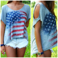 American Glory Flag Off Shoulder Top