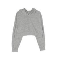 Grey Hooded Pullover Crop