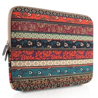 PLEMO Bohemian Style Canvas Fabric 14 Inch Laptop / Notebook Computer Sleeve Case Bag Cover, Mystic Forest