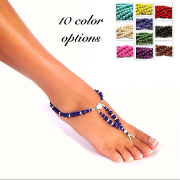 Barefoot sandals - something blue - rhinestone heart - 10 color options -  beach wedding - foot jewelry - toe ring - ankle bracelet