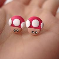 Nintendo Super Mario Mushroom Earrings by SimplyEncharming