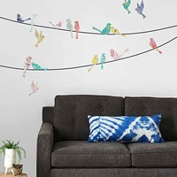 Paisley Birds On Wire Wall Decal- Multi One