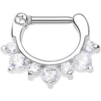 "14 Gauge 5/16"" Seven Clear Cubic Zirconia Septum Clicker 