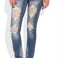 Machine Medium Wash Skinny Jeans with Heavy Destruction Details