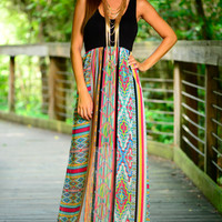 Trippy Pattern Maxi, Black/Multi