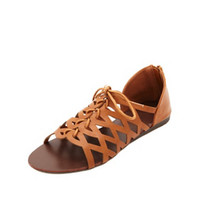 LASER CUT-OUT LACE-UP FLAT SANDALS
