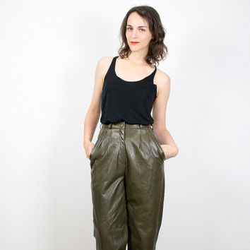 Vintage Leather Pants Olive Green Moss Green Army Green High Waisted Leather Pants Tapered Leg Pleated Pant 1980s 80s Soft Leather S Small