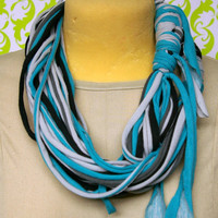 Teal black and gey multistrand hand dyed organic cotton by simre