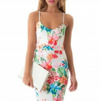 Floral Mid Length Bodycon Dress