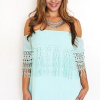 Crochet Trim Dress - Mint