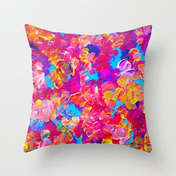 FLORAL FANTASY Bold Abstract Flowers Acrylic Textural Painting Neon Pink Turquoise Feminine Art Throw Pillow by EbiEmporium