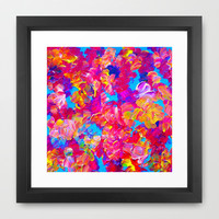 FLORAL FANTASY Bold Abstract Flowers Acrylic Textural Painting Neon Pink Turquoise Feminine Art Framed Art Print by EbiEmporium