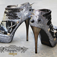 Custom Heels Silver Glitter Platform Booties by PhotographicMVP