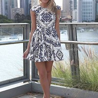 PAISLEY PRINT DRESS , DRESSES, TOPS, BOTTOMS, JACKETS & JUMPERS, ACCESSORIES, 50% OFF , PRE ORDER, NEW ARRIVALS, PLAYSUIT, COLOUR, GIFT VOUCHER,,Blue,White,Print,SHORT SLEEVE,MINI Australia, Queensland, Brisbane