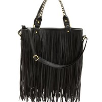 Faux Leather Fringe Tote Bag