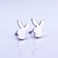 "Playboy earrings, silver stud earring, playboy bunny, bunny earring, tiny stud earrings, playboy jewelry, post earrings,silver stud,""Playboy"