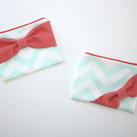 Cosmetic Case / Zipper Pouch / Makeup Bag - Mint and White Chevron with Coral Bow - Customizable Bow Style