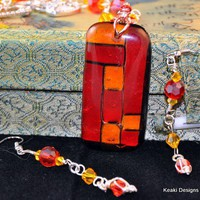 Modern Orange and Red With A Splash of yellow Necklace and Earring set | KeakiDesigns - Jewelry on ArtFire