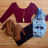 Criss Cross Crop Top - Burgundy