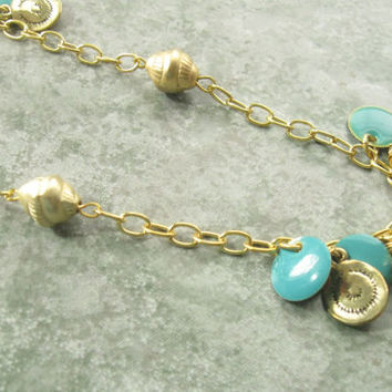 Teal and Gold Long Necklace