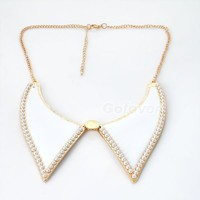 White Roman Style Pearl Embroidered Bib Necklace at Online Jewelry Store Gofavor