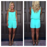 Summerland Crochet Trim Romper - MINT