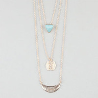 FULL TILT Layered Triangle/Disc/Bar Necklace 242754621 | Necklaces | Tillys.com