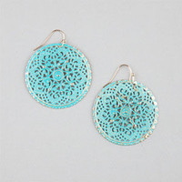 Full Tilt Round Filigree Patina Earrings Turquoise One Size For Women 24259724101