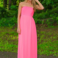 Under The Spotlight Maxi Dress-Neon Pink