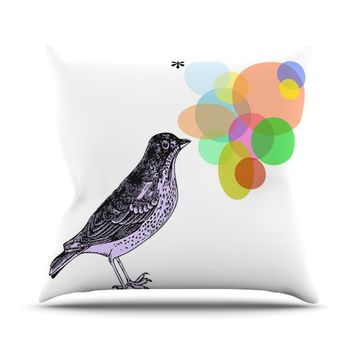 "Kess InHouse Sreetama Ray ""Candy Birds"" Geometry Bird Outdoor Throw Pillow, 16 by 16-Inch"